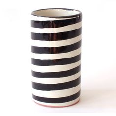 Black and white stripe simple vase by Talavera Vazquez. $32 #Mexico #ceramics