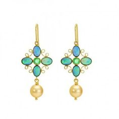 Iridescent opal and emerald drops  #drop #dropsearrings #dropearring #gehna