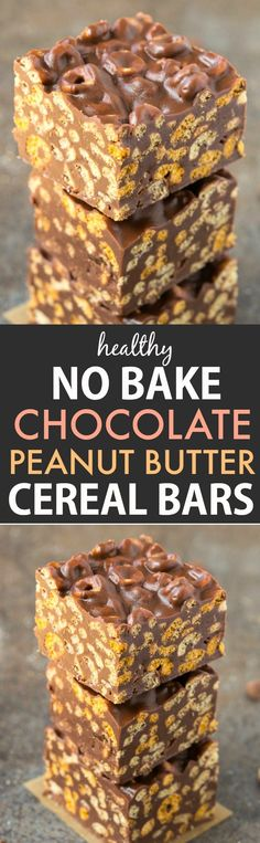 Healthy No Bake Chocolate Peanut Butter Cereal Bars (Vegan, Gluten Free)- Easy homemade cereal bars needing just 5 Ingredients and 10 minutes!
