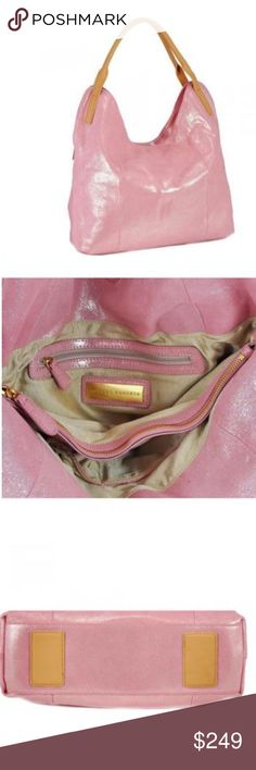 "Pink Metallic Leather Shoulder Bag, NWT We all know that Sondra Robert's handbags have the yummiest fabrications, but this time they have outdone themselves with not only the softest suede, but the delicious metallic pink color. This soft, silvery pink works fabulously as a fresh neutral. The slouchy hobo shape is spacious &the silhouette is hip and comfortable. Double Shoulder Handles 10 ¾"" Drop Metallic Leather Magnetic Top Closure Zipper Interior Pocket Two Pouch Style Interior Pocket…"