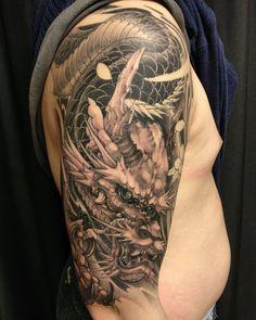Dragon half sleeve in progress @truong1012 #chronicink #dragon #irezumi #asiantattoo #asianink #tattoo