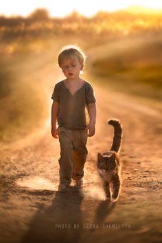 dust on the way (by Elena Shumilova) [boy and cat] [dirt road]