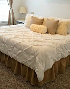 I am going to outline how to do a simple no sew burlap bedskirt. It is so easy, it's almost too easy! And it's very cheap.   Looking at onli...