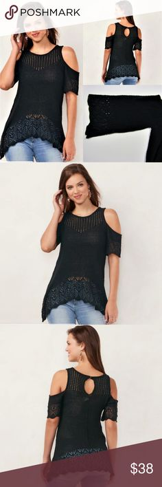 "NEW LAUREN CONRAD BLACK COLD SHOULDER TOP SZ XL Cold-shoulder design Eyelet details Shark-bite hem Crewneck 3/4-length sleeves back button closure with keyhole accent.  Please note that the model on the Lauren Conrad tops' pictures displayed is pretty similar to the actual product, but has a variation on the style of the sleeves. They are shorter than the actual product.   Acrylic Hand wash Imported  MEASUREMENTS:  20"" inches underarm to underarm 30.5"" inches shoulder to bottom hem  13.25""…"