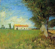 Farmhouse in a Wheat Field (1888) Vincent Van Gogh