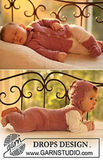 """b18-14 Jacket, jumpsuit, bonnet and socks in """"Alpaca"""" by DROPS design - FREE PATTERN"""