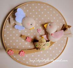 : Quadro moldura bastidor: passarinhos