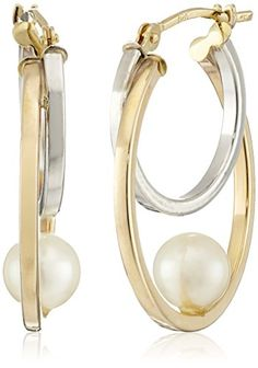 10k Yellow Gold 56mm White Round Freshwater Cultured Pearl Two Tone Hoop Earrings >>> You can get more details by clicking on the image.