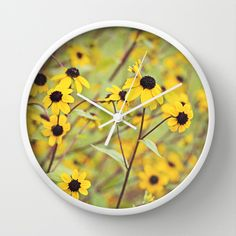 Vintage Daisies Wall Clock by Tracey Krick Photography - $30.00