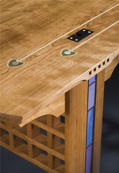 Glasgow Desk in cherry, inspired by Charles Rennie Mackintosh and Josef Hoffman. With custom inlaid desktop pattern and leaded-glass leg inserts. By Kevin Rodel Furniture & Design Studio.