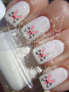Easter Nail Art Skull Bunny Water Decals Nail Transfers by SWNails