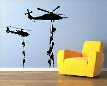 Military Helicopter troopers rappelling Wall Decal