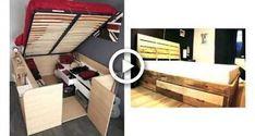 Marvelous Platform Bed with Storage Underneath Diy - Pallet Furniture Ideas Build A Platform Bed, Platform Bed With Drawers, Modern Platform Bed, Pallet Beds, Diy Pallet Furniture, Diy Furniture Projects, Diy Storage Bed, Home Made Simple, Homemade Modern