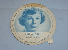 """Articles similaires à 1952 June Allyson DIXIE LIDS, Borden's Ice Cream """"The Girl In White"""" Save 12 lids for a Colored Picture of Me. A Metro Golwyn Mayer Picture sur Etsy June Allyson, Future Trends, White Picture, Famous Women, Kitchenware, Etsy Vintage, Creme, Ice Cream, Color"""