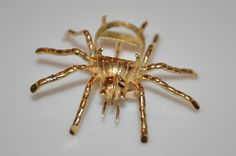 Vintage Estate 14K Yellow Gold SPIDER BUG Pin Brooch Setting Nice