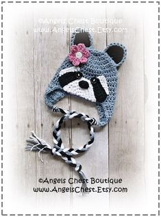 Crochet RACCOON Beanie Earflap Hat PDF Pattern Sizes Newborn to Adult Boutique Design - No. 56 by An