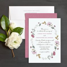 Country floral wedding invitation in purple