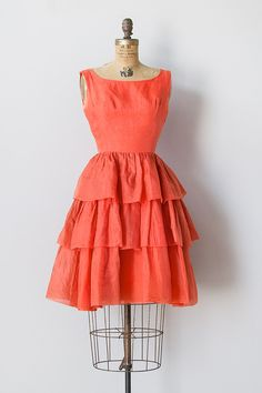vintage 1960s orange tiered organza dress