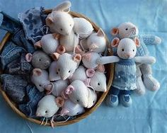 Cat and Mouse Knit Patterns - Wee Folk Art