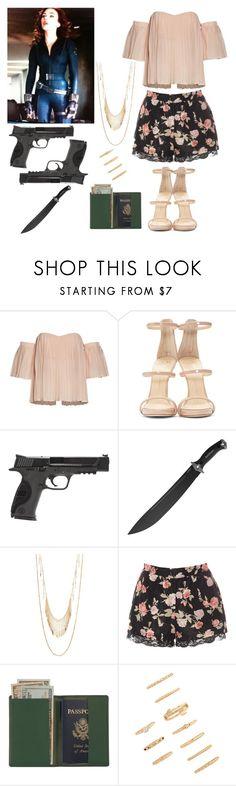 """Natasha Romanoff: Undercover"" by jordynn-nicole-fishy ❤ liked on Polyvore featuring Giuseppe Zanotti, Smith & Wesson, Kershaw, Panacea, Glamorous, Royce Leather and Forever 21"