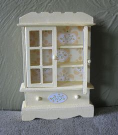 miniature Yellow dining room hutch by TinyTinaCreations on Etsy, $8.50