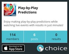 Two minutes until the Women's World Cup Final! Join #Choice's Play-by-Play Prediction group to predict what happens during the game! Http://goo.gl/VQCdAS