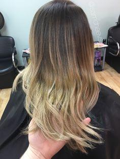 Balayage ombre for dark hair // dirty blonde pearl platinum salty caramel honey