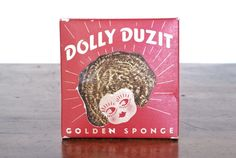 """Pretty clever packaging!  1930s Dolly Duzit """"metal dish cloth"""" kitchen scrubber."""