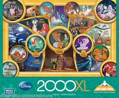 THROUGH THE YEARS World of Classic DISNEY Movies NEW 2000 piece XL Jigsaw Puzzle. Great gift idea!