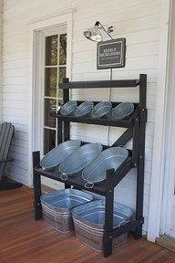 Drink and snack storage for back yard parties, and / or a storage spot for towels while youre swimming, sunscreen, and pool toys. I want this for my house! i would use this for kids outdoor toys Shoe Rack, Bugs, Corner, Bookcase, Organic Gardening, Key, Shelves, Store, Home Decor
