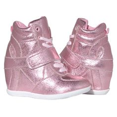 A trendy pair of high top tennis shoes for your little girl from Blue Suede Shoes. These metallic light pink shoes feature a strap and shoe lace closure for fit and comfort. Cute with jeans or even leggings. Blue Suede Shoes, Pink Shoes, Girls Shoes, High Top Tennis Shoes, Pink High Tops, Pink Castle, Footwear, Pairs, Sneakers