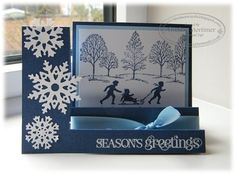 welcome christmas & lovely as a tree christmas card stampin up