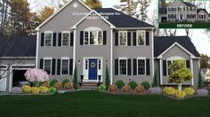 Colonial Home, front yard landscape design, Lakeville, MA