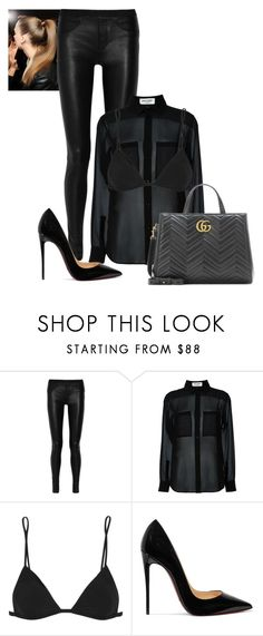 2016/1008 by dimceandovski on Polyvore featuring Yves Saint Laurent, Helmut Lang, IRO, Christian Louboutin and Gucci