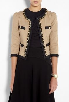 Brown Chain Detail Cotton Jacket by Moschino Cheap