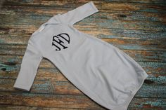 Monogrammed baby gown by luckybugsdesigns on Etsy, $16.00