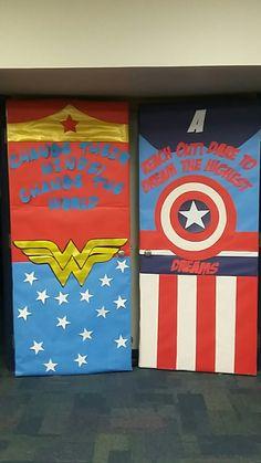 Wonder Woman Captain America classroom door - Visit to grab an amazing super hero shirt now on sale! Superhero Classroom Door, Superhero Bulletin Boards, Superhero Teacher, Classroom Themes, Superhero School Theme, Superhero Kindergarten, Superhero Party, Teacher Door Decorations, School Decorations