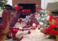 Do your toy dinosaurs come alive when you go to sleep during the month of November? Well, let me tell you, they actually do, and here's the proof: DINOVEMBER. Office Christmas, Kids Christmas, Christmas Wreaths, Christmas Decorations, Christmas Dinosaur, Dino Toys, The Good Dinosaur, Festivus, Event Themes