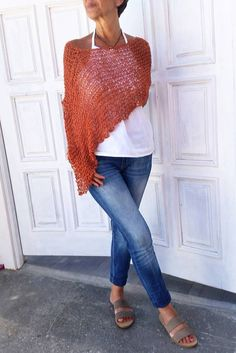 Boho knit wrap women summer poncho knit shrug boho by EstherTg