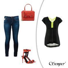 Wygodna bluzka z czarnej żorżety z zielonymi, neonowymi pasami to idealne uzupełnienie klasycznych jeansów (Pepe Jeans). Dobierz do tego krwistoczerwone dodatki (buty Giuseppe Zanotti, torebka Moschino). Z pozoru prosta, ale jakże ciekawa stylizacja, nie sądzicie?  Bluzka:  http://bit.ly/SemperBluzkaHalina #semper #semperfashion #jeans #fashion #inspirations #fashioninspirations #redshoes #redheels #kobietasemper #woman #fashionlook #propozycjemodowe #stylowa