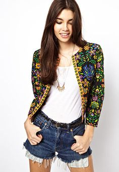 Folk Style Retro Floral Print Leisure Jacket