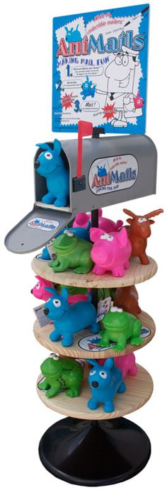 """Discovered """"AniMails"""" at Learning Express (Austin, TX). They are little rubbery critters that you can write on and send them directly in the mail (postage is around $2.50) without having to package them in a box. What a cool idea. Got a couple for my nieces and nephews."""