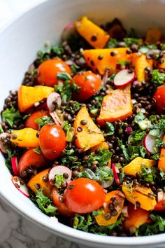 Pumpkin Salad with Beluga Lentils, Kale & Cherry Tomatoes