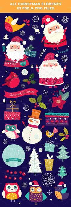 Illustrations with Santa Claus • Available here → https://creativemarket.com/MoleskoStudio/1067950-Illustrations-with-Santa-Claus?u=pxcr