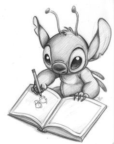 Stitch Can Draw Too is part of Stitch drawing - Pencil drawing of Stitch from Disney's Lilo & Stitch Disney Drawings Sketches, Cute Disney Drawings, Easy Drawings, Drawing Sketches, Drawing Ideas, Disney Pencil Drawings, Drawing Disney, Drawing Step, Drawing Tutorials