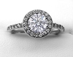 Vintage Style Round Diamond Halo Engagement Ring 0.56 tcw. Like Carrie Underwood-Fisher