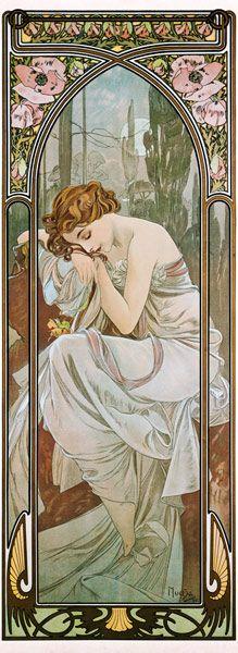Alphonse Mucha-Tageszeiten: Nachtruhe