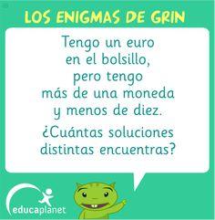 enigma matemáticas primaria monedas Escape Room, Teacher, Humor, Education, Math, School, Apps, Uni, English
