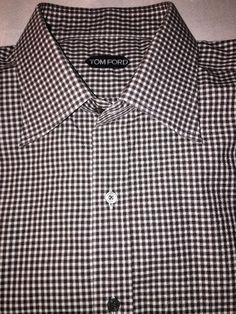 Tom Ford Made in Switzerland Brown Gingham French Cuff Dress Shirt 17 43 | eBay