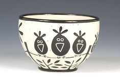 I like the highly graphic surface Makes me smile Birds on a Wire Bowl: Jennifer Falter: Ceramic Bowl - Artful Home click now for info. Pottery Painting, Ceramic Painting, Ceramic Artists, Sgraffito, Pottery Bowls, Ceramic Pottery, Painted Pottery, Paint Your Own Pottery, Pottery Designs